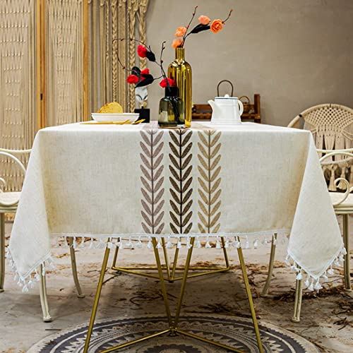 Smiry Embroidery Tassel Tablecloth - Cotton Linen Dust-Proof Table Cover for Kitchen Dining Room Party Home Tabletop ...