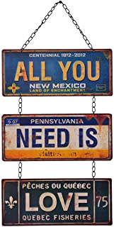 NIKKY HOME All You Need is Love Metal Antique Wall Art Hanging Sign Plaque 12.01 x 0.2 x 23.82 Inches
