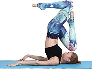 Tesuwel Extra Long Printed Yoga Pants Over The Heel High Waist Tummy Control Women Yoga Stirrup Leggings