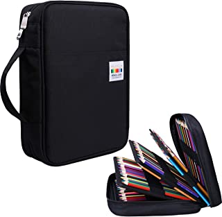 220 Colored Pencil Case Multi Pencil Holder Large Capacity Pen Organizer Bag for Watercolor Pencils, Markers,Gel Pens, Highlighters, Brushes, Great Gift for Students Painter Writers (Black)