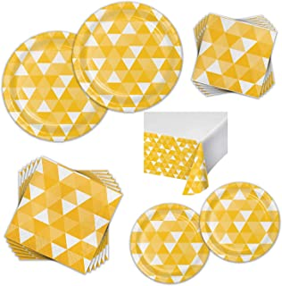 Colorful Fractal Dinnerware Bundle for 16 Guests - Great for Birthday Parties, Entertaining, and Everyday Celebrations - Kit Includes Paper Plates, Napkins, Plastic Table Cover (School Bus Yellow)