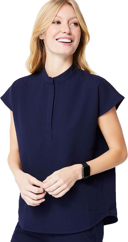 FIGS Rafaela Two-Pocket Mandarin Collar Scrub B Navy Women — Albuquerque Mall Top Japan Maker New