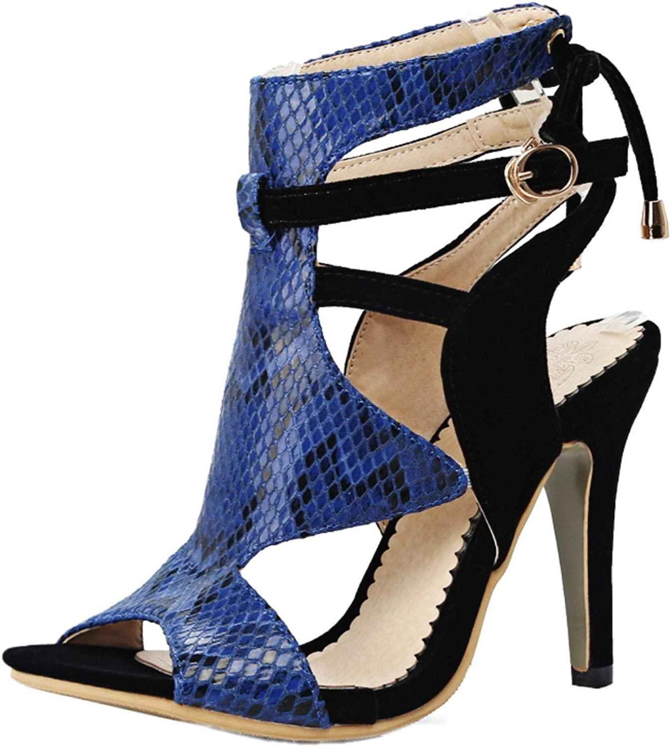 Rongzhi Womens High Heels Pumps Heeled Sandals Stilettos Ankle Strap Buckle shoes Open Toe Dress Party Red