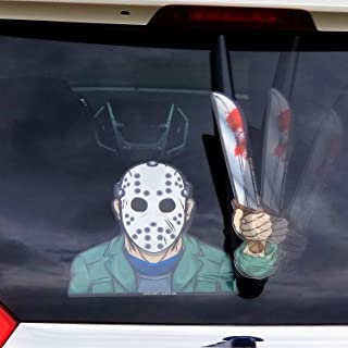 WiperTags Hockey Masked Machete Killer with Decal attaches to Rear Vehicle Wiper Accessory