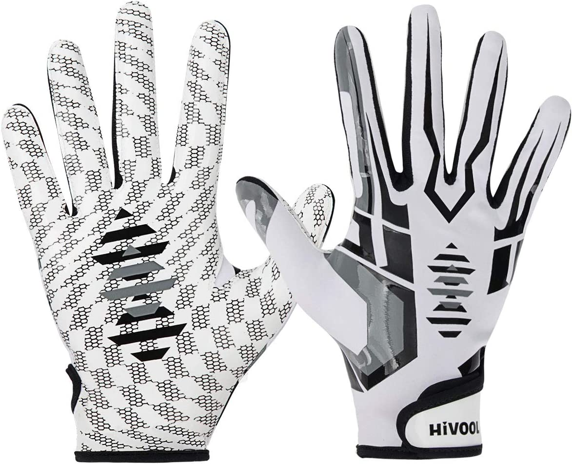 Hivool Football Gloves, Ultra-Stick Tight Sports Receiver Gloves, Breathable and Non-Slip Silicone Grip Glove, Enhanced Performance White Football Gloves for Youth & Adult (L & XLSizes)(1 Pair) : Sports & Outdoors