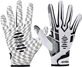 Hivool Football Receiver Gloves, Ultra-Stick Tight Sports Receiver Glove, Breathable and Non-Slip Silicone Grip Glove, Enh...