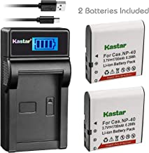 Kastar Battery (X2) & Slim LCD Charger for Casio NP-40 NP40 & Kodak LB-060 AZ521 AZ361 AZ501 AZ522 AZ362 AZ526, HP D3500 SKL-60 V5060H V5061U Cameras and SUN06 YCO6 Full HD Portable Camcorders