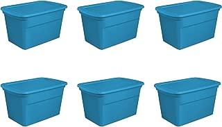 Sterilite 17364306 30 Gallon/114 Liter Tote, Blue Aquarium, 6-Pack
