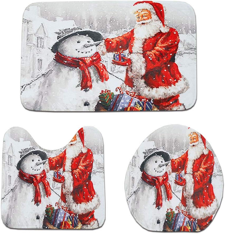 Polymer True Utility Bathroom Mat Toilet Seat Christmas Carpet Decoration Set of 3