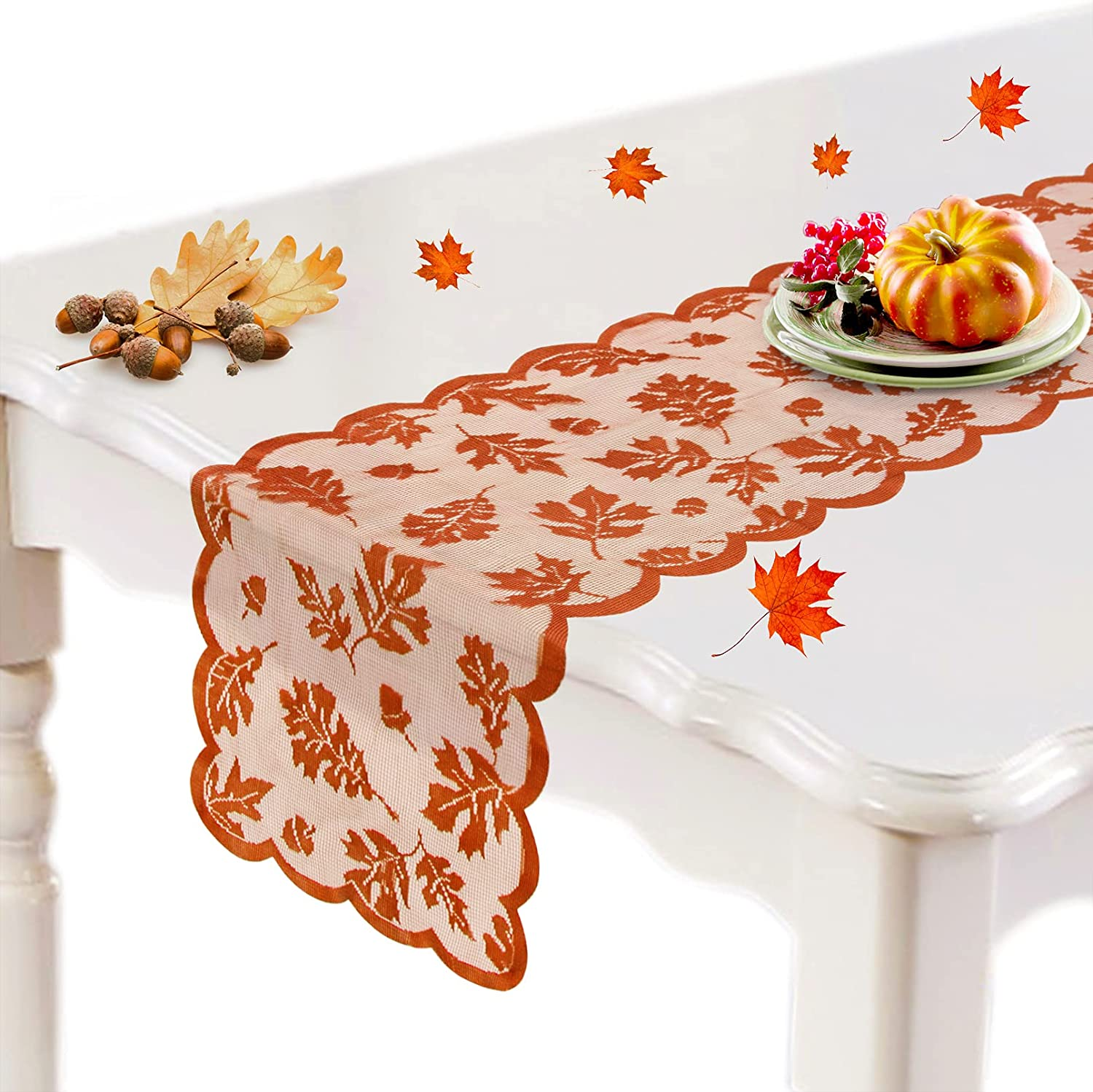 Ouddy Fall Table Runner, Thanksgiving Table Runner Decorations 13 x 72 Inch for Home with Maple Leaves Harvest Lace Table Runner Fall Decor for Thanksgiving Holiday Dinner Party