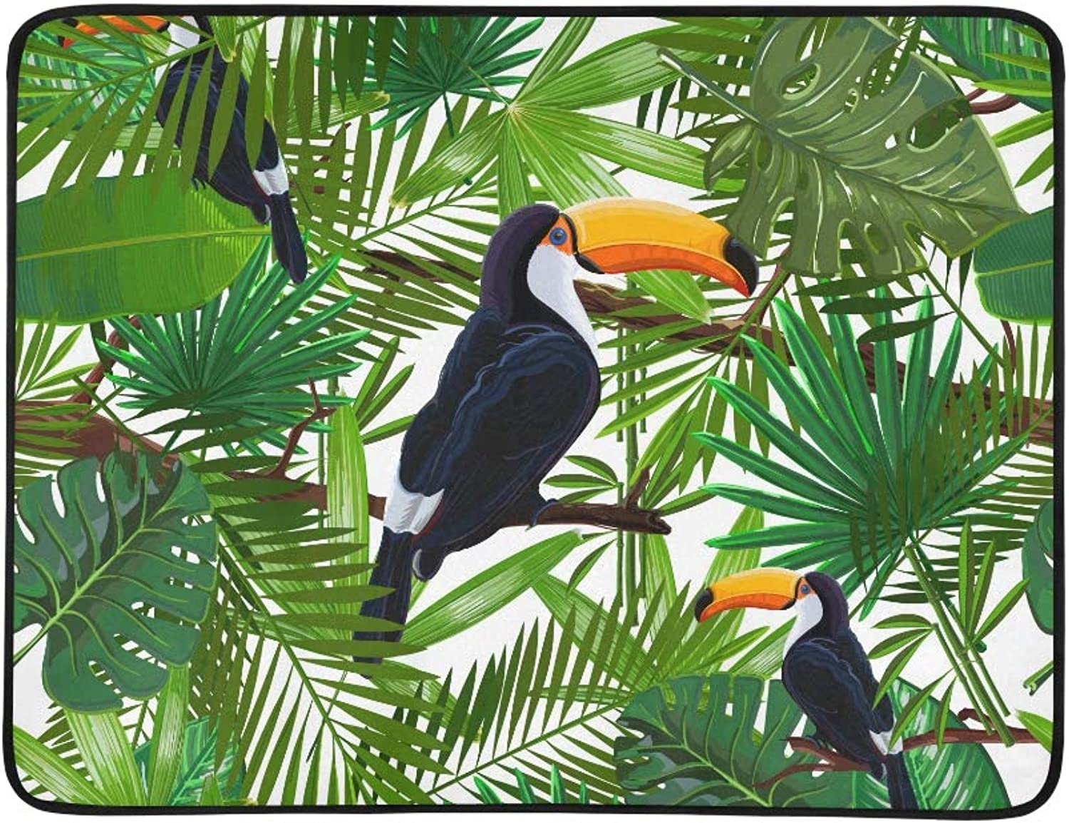 Tropical Leaves and Bird Toucan On A Branch Pattern Portable and Foldable Blanket Mat 60x78 Inch Handy Mat for Camping Picnic Beach Indoor Outdoor Travel