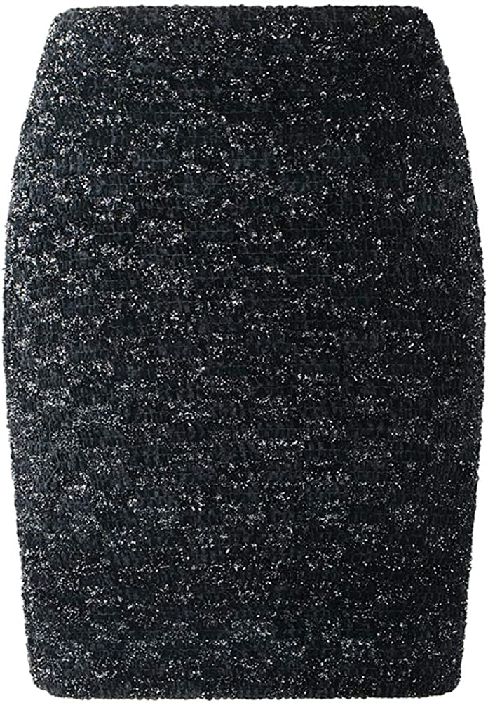 Women Fashion Black Sequined Checkerboard Shinny High Waist Mini Pencil Skirt