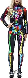 Auremore Halloween Costumes for Women 3D Skeleton Cosplay Jumpsuit Bodysuit