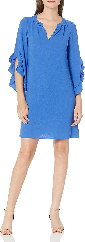 NINE WEST Women's Ruffle Sleeve Shift Dress