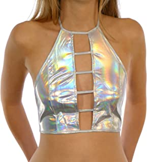 Holographic Festival Rave Wear Women's Metallic Crop Top