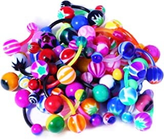 15-100PC Belly Button Rings Banana Barbells 14G Steel Flexible Bar Mix Color Body Jewelry