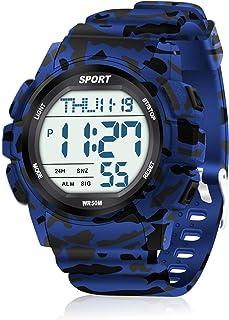 WIFORT Reloj Digital Hombre, 5ATM Impermeable Deportivo Reloj de Pulsera Esfera Grande con Cronómetro, Cuenta Regresiva, A...