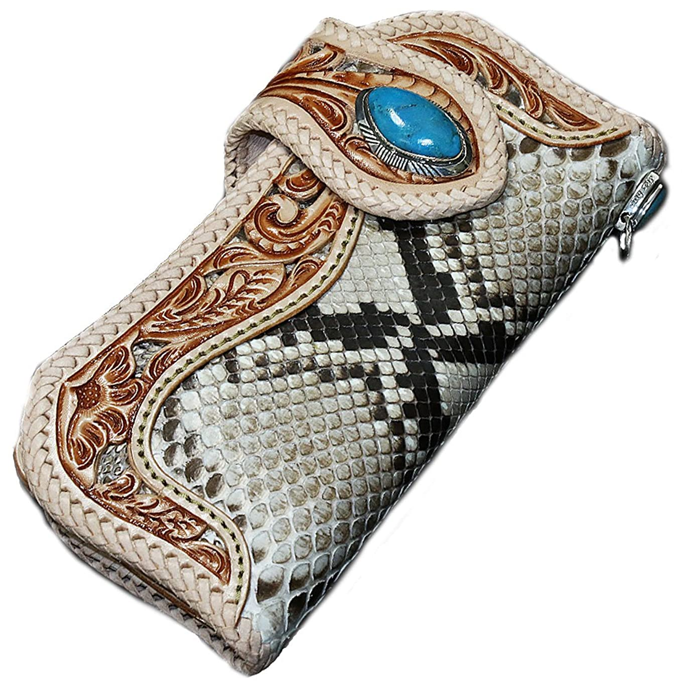 バウンス健康的コレクションバイカーズウォレット レザーウォレット メンズ 長財布 本革 レザー 透かし彫り カービング パイソン 蛇 へび メンズ長財布 お財布