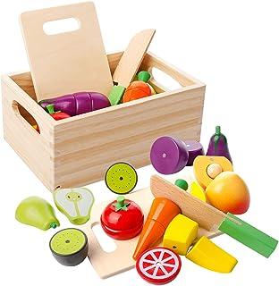 comprar comparacion mysunny Juguetes de Cocina de Madera para niños, Juguete magnéticos de Frutas y Verduras educativos de simulación y Juguet...