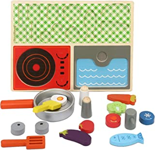 Howade Simulation Breakfast Kitchen Set Baby Pretend Play Wooden Food Kitchen Cooking Educational Toy