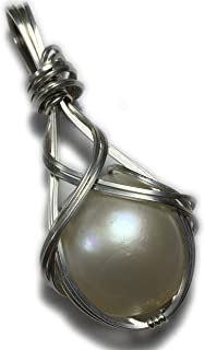 Mabe Pearl Pendant Ivory White - 925 Sterling Silver with Black Leather Necklace, Elegant Gift Box, Rocks2Rings Wire Wrapped Jewelry 18PW Z
