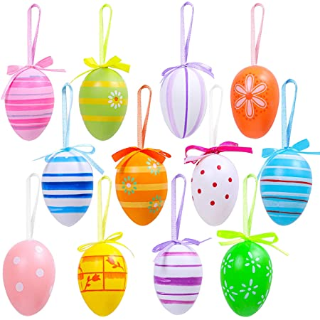24 Pcs Easter Hanging Eggs Decorations Decorative Easter Tree Hanging Ornaments for Home Easter Gift Party Decor Colorful Plastic Easter Eggs