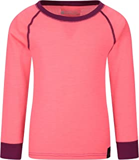 Mountain Warehouse Camiseta térmica Lana Merino para niños con Cuello Redondo - de Mangas largas, cálida, Transpirable, Ca...