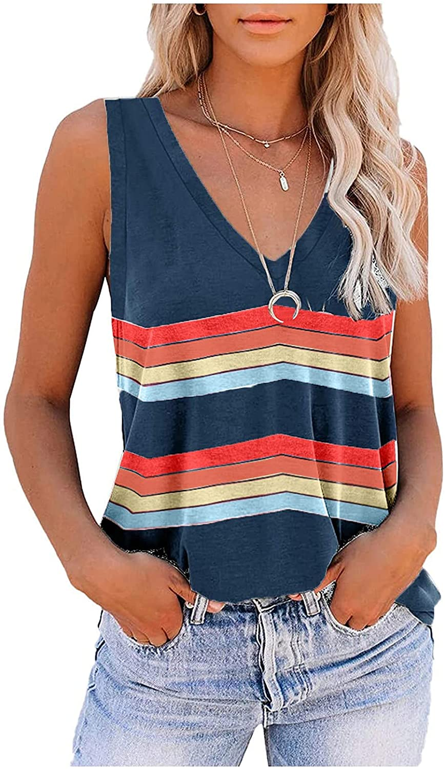 Summer Tops for Women, Womens Fashion Stripe V Neck Tank Top Sleeveless Vest Camis T Shirts Casual Comfy Tunic Blouses