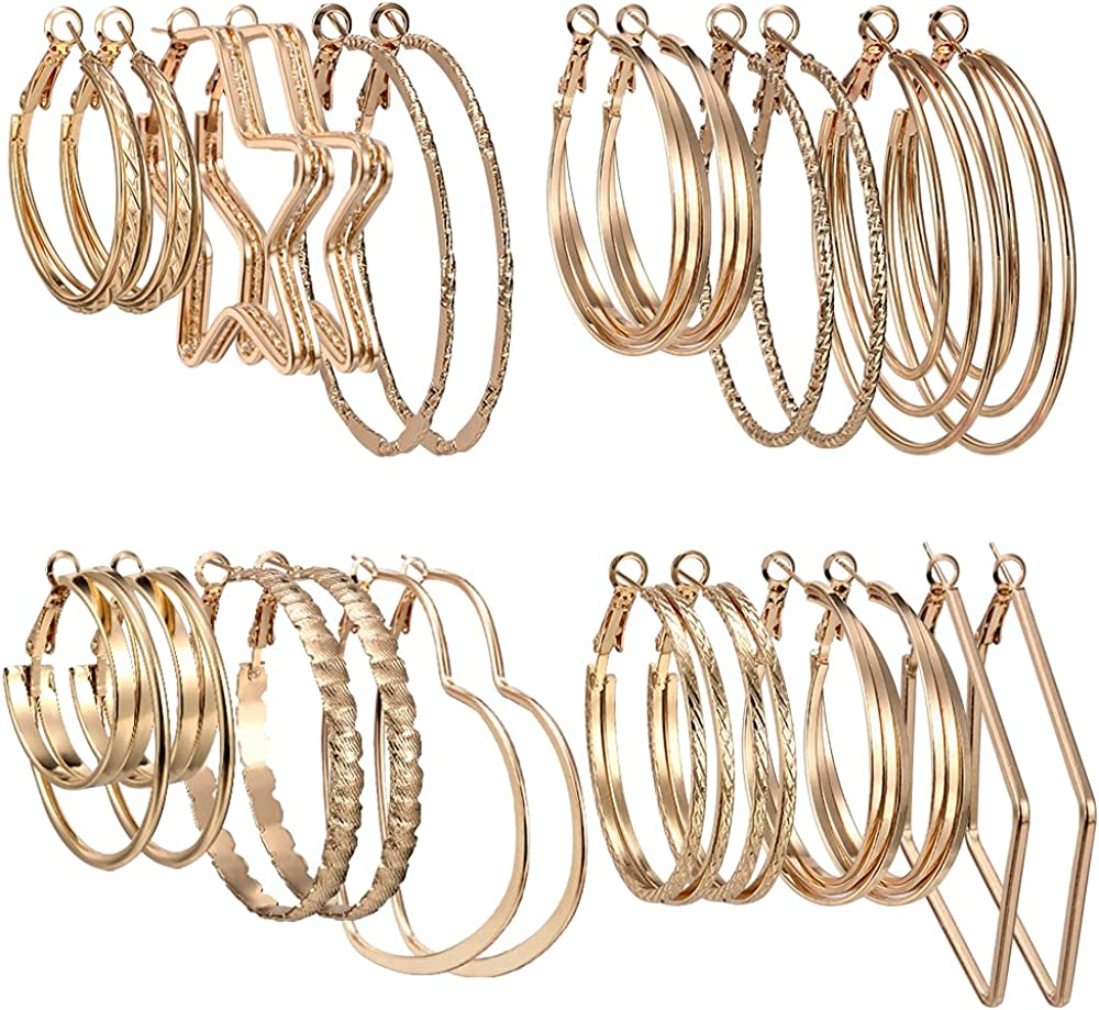 12 Pairs Big Hoop Earrings - Stainless Steel Hoop Earrings Gold Plated ,Square Earring Hypoallergenic Thin Geometric Hoop Earrings Set for Women Girls Sensitive Ears