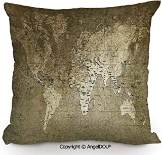 AngelDOU Pillow Cotton Linen Cushion,Old World Map with Great Texture Nostalgic Ancient Plan Atlas Trace of Life World Print,Coffee Shop Restaurant Sofa Company Gifts.17.7x17.7 inches