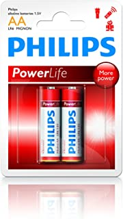 Philips LR6P2B Power Alkaline Battery Set, 1.5 Volt, Type AA - 2 Pieces