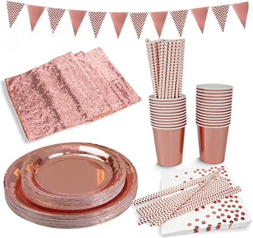 Rose Gold Paper Party Supplies Disposable Paper Plates Tableware Set-25 Dinner Plates,25 Dessert Plates,25 Cups,25 Na...