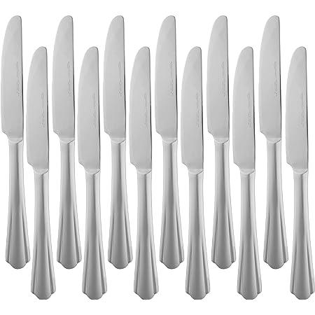 AmazonBasics Service de 12 couteaux de table en acier inoxydable avec bord festonné