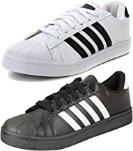 Ethics Perfect Combo Pack of 2 White & Black Superstar Sneaker Shoes for Men