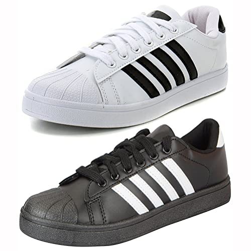 promo code a9487 51438 Ethics Perfect Combo Pack of 2 White   Black Superstar Sneaker Shoes for Men