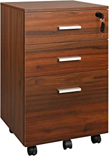 DEVAISE 3 Drawer File Cabinet, Mobile Wood Filing Cabinet, Fully Assembled Except Wheels (Walnut)