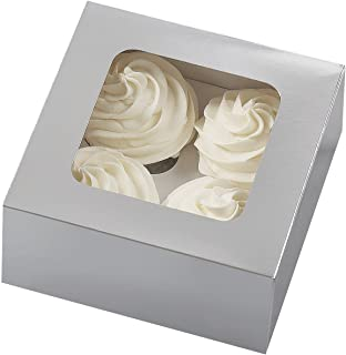 Wilton 4 Cavity Silver Cupcake Boxes, 3 Count