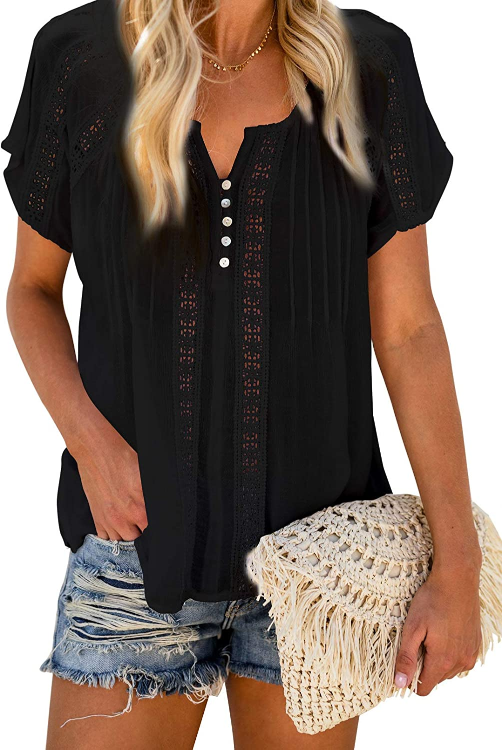 Biucly Womens Casual Button-Down Shirts V Neck Lace Crochet Blouses Tops