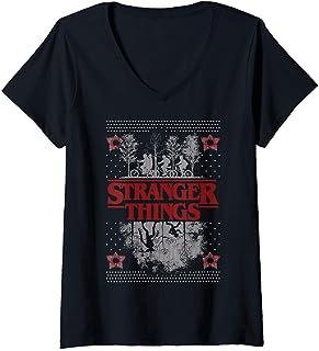 Femme Netflix Stranger Things Ugly Christmas Sweater Style T-Shirt avec Col en V