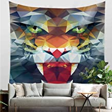 YOLIYANA Tiger Durable Tapestry,Portrait of Animal from Top of The Food Chain Polygonal Abstract Art Dangerous Beast Decorative for Bed Room,30