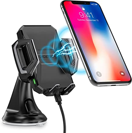 Wireless Car Charger,CHOETECH Fast Wireless Charger Car Phone Holder WIreless Car Phone Charger Mount Fast Charging Compatible with iPhone XS / XS Max / XR / X / 8 Plus / 8, Samsung S9, S9+ , Note 9, S8, S8+, S7, S7 Edge, S6 Edge+ and other Qi-Enable Devices