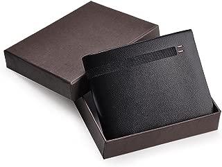 Yescom Bifold Minimalist Mens Leather Wallets Business ID Credit Card Holder Wallet Men Slim Black