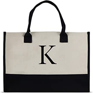 Monogram Tote Bag with 100% Cotton Canvas and a Chic Personalized Monogram (Black Block Letter - K)
