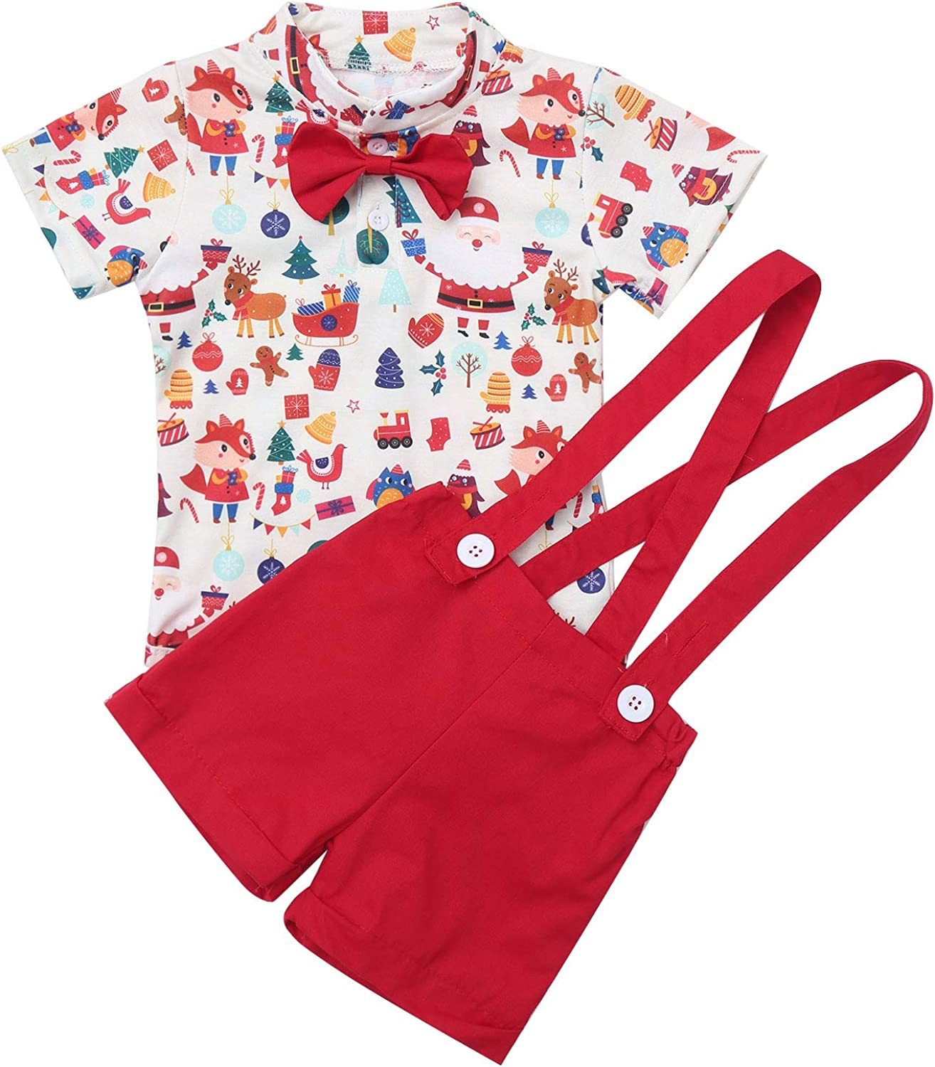 vastwit Toddler Baby Boys Christmas Short Sleeves Shirt Romper with Suspenders Shorts 2Pcs Party Set