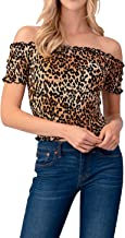 Melisse & Co. USA Sexy Off Shoulder Cheetah Leopard Animal Print Crop Tops for Women