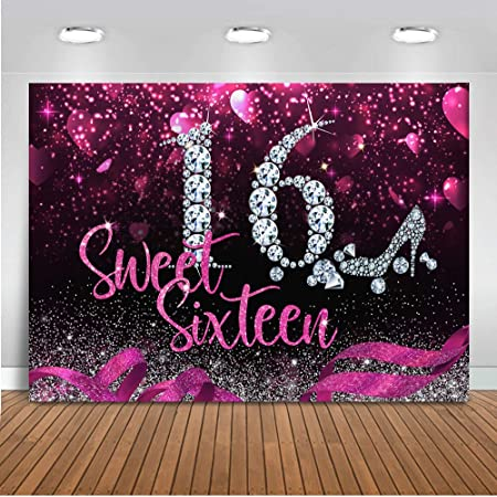 OFILA Girls Sweet 16 Birthday Backdrop 5x5ft Girls 16th Birthday Party Photography Background Bokeh Halos Backdrop Girls Birthday Bash Background Video Props