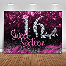 Mocsicka Sweet Sixteen Backdrop 8x6ft Vinyl Girl's 16th Birthday Diamond Red Heart and Ribbon High-Heel Photography Background Adult Photo Studio Prop