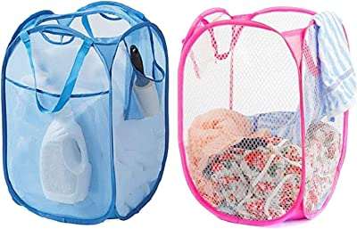 Kuber Industries Nylon 2 Piece Mesh Laundry Basket,20Ltr (Multi)-CTKTC21515