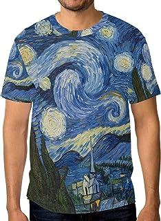 cd864a44f78d3 ALAZA Homme Nuit Étoilée de Van Gogh Peinture à l'huile à Manches Courtes T