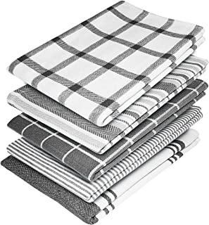 Elfranso Tea Towels – 100% Cotton Kitchen Tea towels- Pack of 5 and Absorbent Tea Towels set, 70 x 50 cm Towels (Grey)